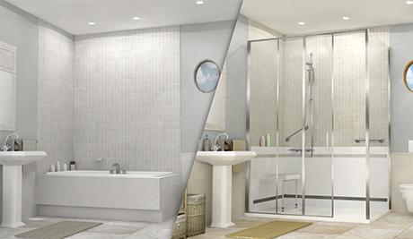 douche sécurisée avant-après